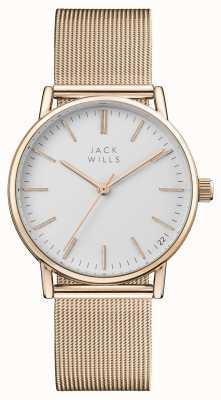Jack Wills Womens berry witte wijzerplaat rose goud pvd mesh armband JW013RSRS