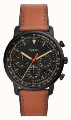 Fossil Heren chronograaf bruin lederen roestvrij stalen zwarte wijzerplaat FS5501