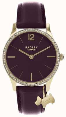 Radley Dameshorloge paarse lederen band gouden kast RY2708