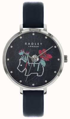Radley Dames bloemen- en hondenprint zwart horloge RY2681