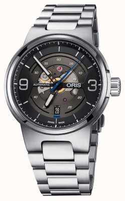 Oris Williams-motor dateert van automatische roestvrijstalen zwarte wijzerplaat 01 733 7716 4164-07 8 24 50