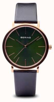 Bering Klassiek | gepolijste roségouden zwarte band 13436-469