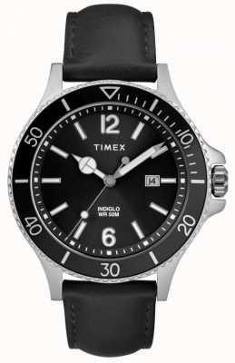 Timex | heren | indiglo harbourside | zwarte wijzerplaat | zwart leer | TW2R64400D7PF
