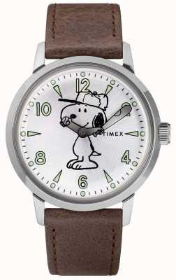 Timex Snoopy welton zilverkleurige wijzerplaat lederen band TW2R94900