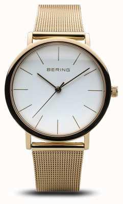 Bering Dames klassiek horloge goud mesh 13436-334