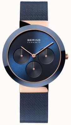 Bering Keramiek | gepolijste rosébehuizing | blauwe wijzerplaat 35036-367
