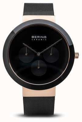 Bering Keramiek | gepolijste rosébehuizing | zwarte wijzerplaat 35040-166