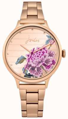 Joules Womens flora rose goud pvd armband floral wijzerplaat JSL002RGM