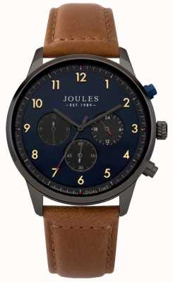 Joules Heren bruine lederen band blauwe chronograaf wijzerplaat JSG007TB
