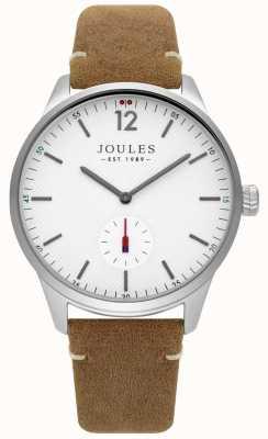 Joules Bruin lederen riem, witte wijzerplaat JSG005T