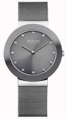 Bering Grijze keramische mesh armband grijze wijzerplaat 11435-389