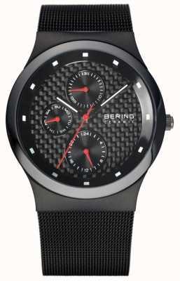 Bering Keramische zwarte mesh armband heren zwarte wijzerplaat 32139-309