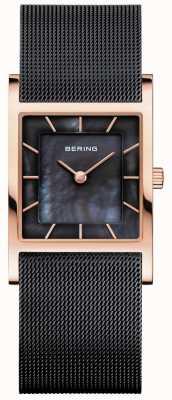 Bering Zwarte mesh-armband dames zwart, parelmoer wijzerplaat 10426-166-S