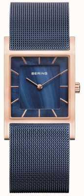 Bering Blauwe mesh armband blauwe parelmoer wijzerplaat 10426-367-S