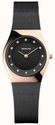 Bering Zwarte wijzerplaat zwart mesh armband dames 11927-166