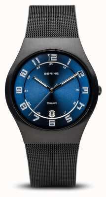 Bering Titanium | geborstelde zwarte blauwe wijzerplaat 11937-227