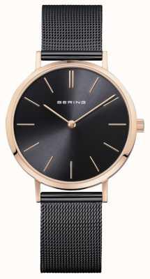 Bering Dames horloge klassiek zwart roségoud 14134-166