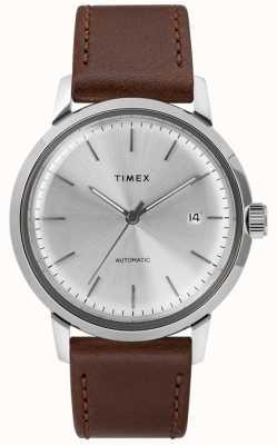 Timex Automatische lederen riem heren zilver wijzerplaat TW2T22700