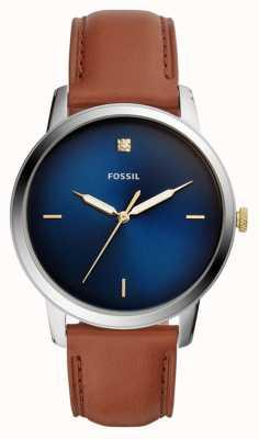 Fossil Mens minimalistische horloge bruin lederen band blauwe wijzerplaat FS5499