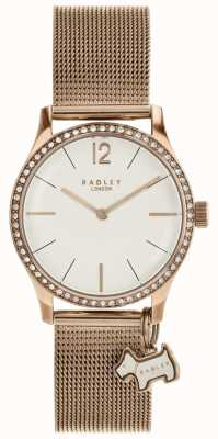 Radley Millbank dog charm rose gouden mesh armband horloge RY4286