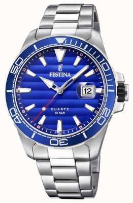 Festina Heren roestvrijstalen metalen armband blauw gezicht F20360/1