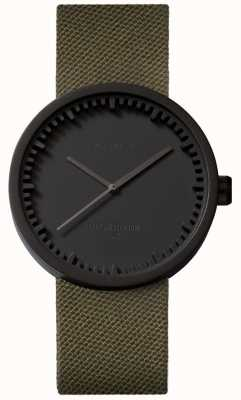 Leff Amsterdam Tube watch d38 cordura matte zwarte case groene band LT71014