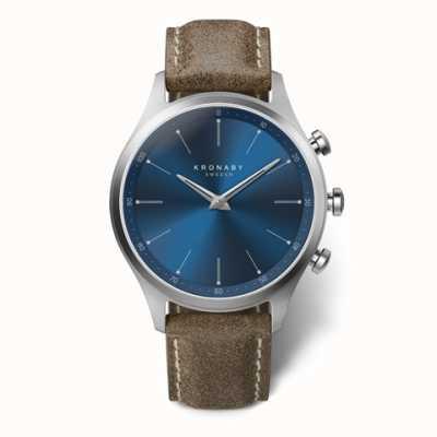 Kronaby 41 mm sekel blauwe wijzerplaat truffel lederen band a1000-3759 S3759/1