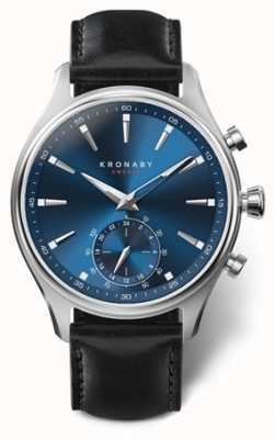 Kronaby 41 mm sekel blauwe wijzerplaat zwart lederen band a1000-3758 S3758/1