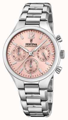 Festina Womens boyfriend chronograph stainless steel pink wijzerplaat F20391/2