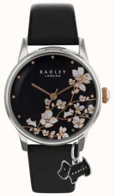 Radley dames | bloemenprint | zwarte wijzerplaat | lederen band RY2687