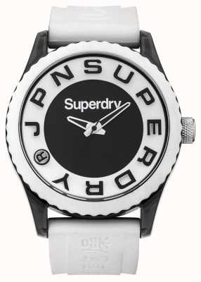 Superdry Stedelijk | witte siliconen riem | zwart-witte wijzerplaat SYG145WA