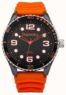 Superdry Oranje siliconen armband | zwarte wijzerplaat | witte markeringen SYG163OA