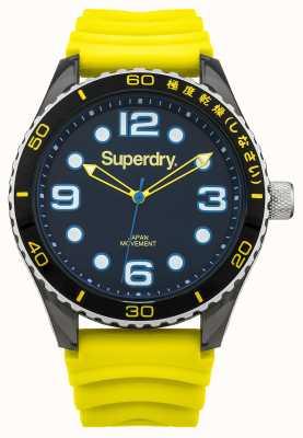 Superdry Gele siliconen riem | zwarte wijzerplaat | blauwe accenten SYG163YA