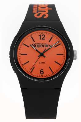 Superdry Stedelijk | zwarte siliconen riem | oranje wijzerplaat SYG017BO