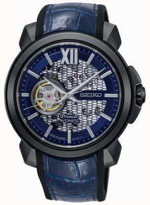 Seiko Mens premier limited edition | automatisch skelet | blauw SSA375J1
