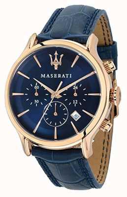 Maserati Epoca 42mm voor heren | blauwe wijzerplaat | blauwe leren riem R8871618007