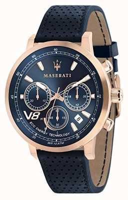 Maserati Heren gt 44 mm | zonne | roségouden kast | blauwe wijzerplaat | leer R8871134003