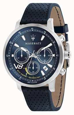 Maserati Heren gt 44 mm | solar | zilveren behuizing | blauwe wijzerplaat | blauw leer R8871134002