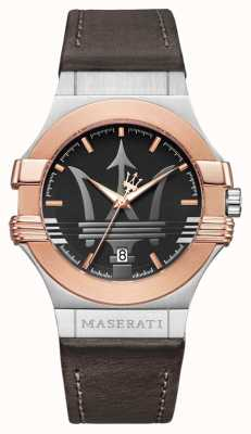 Maserati Mens potenza 42mm   verguld roestvrij staal   bruine stra R8851108014