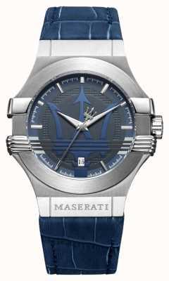 Maserati Mens potenza 42mm | roestvrij staal | blauwe wijzerplaat | blauwe riem R8851108015