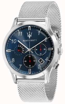 Maserati Mens ricordo 42mm   blauwe wijzerplaat   roestvrijstalen mesh armband R8873625003