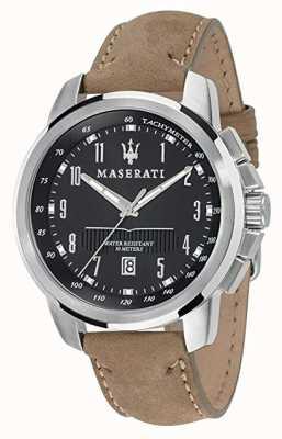 Maserati Mens successo 44mm   zwarte wijzerplaat   leren riem R8851121004