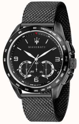 Maserati Mens traguardo 45mm   zwarte wijzerplaat   zwarte mesh armband R8873612031