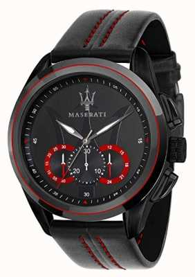 Maserati Mens traguardo chronograph   zwarte wijzerplaat   zwart leer R8871612023