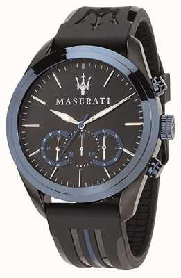 Maserati Mens traguardo chronograph | blauwe wijzerplaat | zwarte siliconen R8871612006