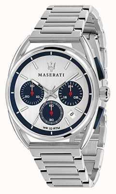 Maserati Trimarano heren 41 mm   zilver / blauwe wijzerplaat   roestvrij staal R8873632001