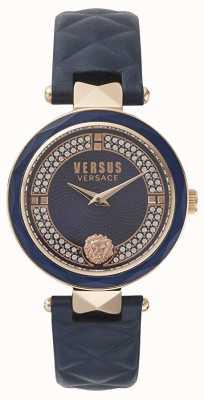 Versus Versace Womens covent garden | blauwe swarovski wijzerplaat | blauw leer VSPCD2817