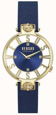 Versus Versace Dames Kirstenhof | blauwe / witte wijzerplaat | blauwe lederen band VSP490218