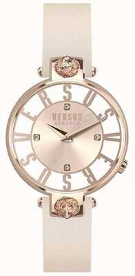 Versus Versace Dames kristenhof | roze / witte wijzerplaat | roze leren riem VSP490318