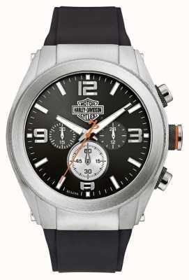 Harley Davidson Rubberen herenring voor heren, zwart chronograaf 76B176